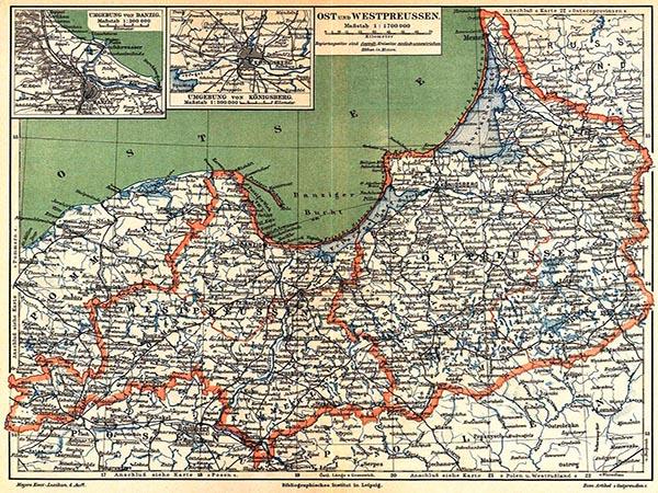 Ost- und Westpreußen (Chromolithographie aus dem späten 19. Jahrhundert)