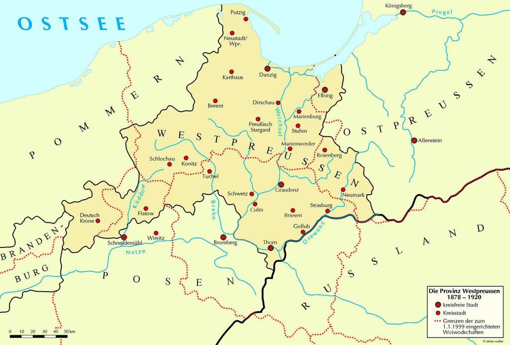 Die Provinz Westpreussen 1878–1920 – mit den Grenzlinien der heutigen Woiwodschaften
