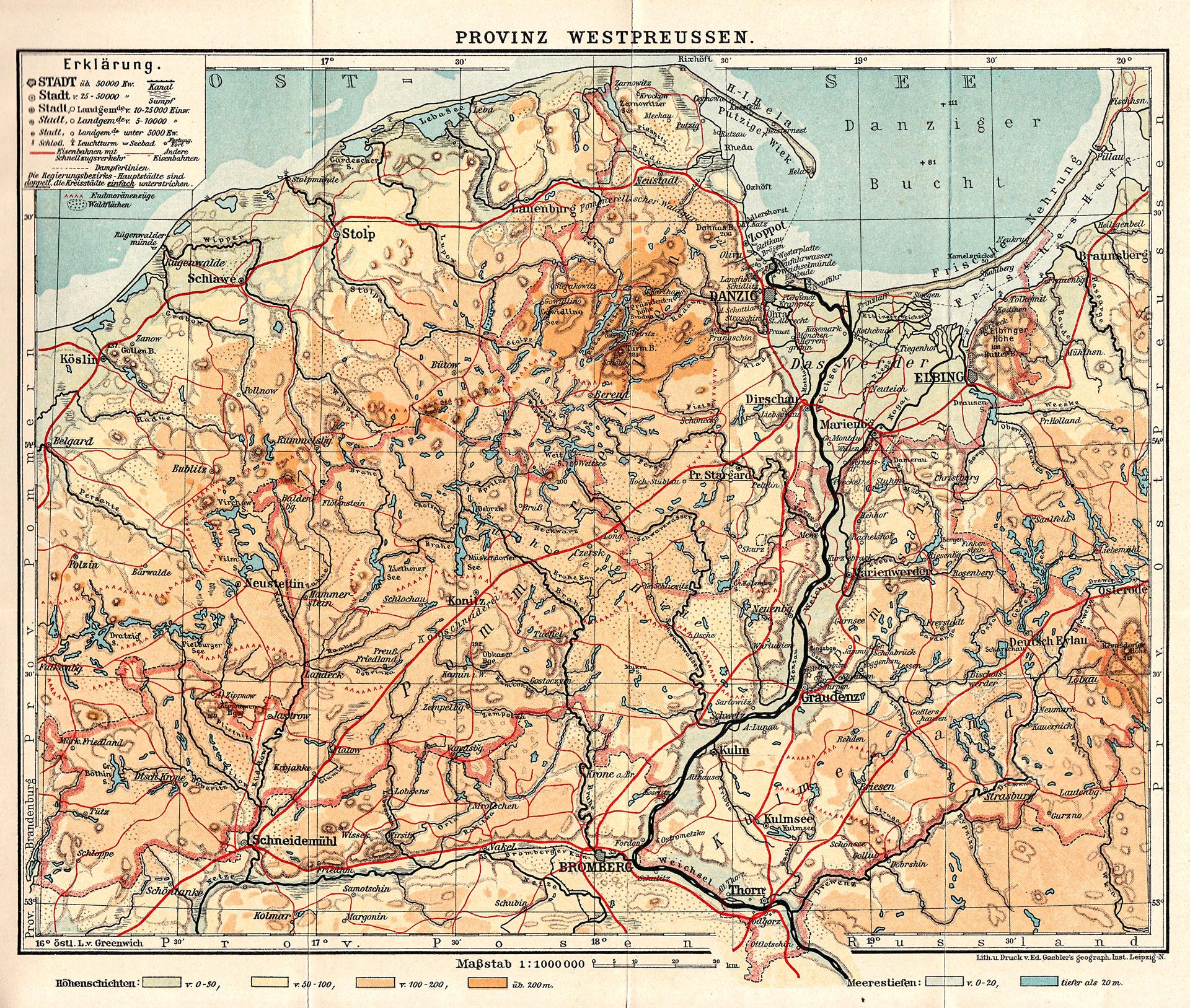 Karte der Provinz Westpreußen, Leipzig 1912