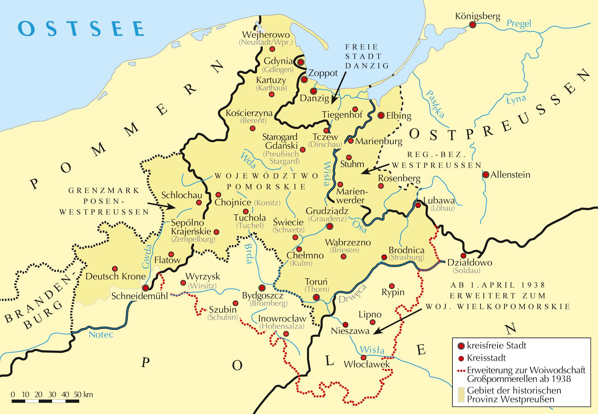 """Die """"Vierteilung"""" Westpreußens 1919/1920"""