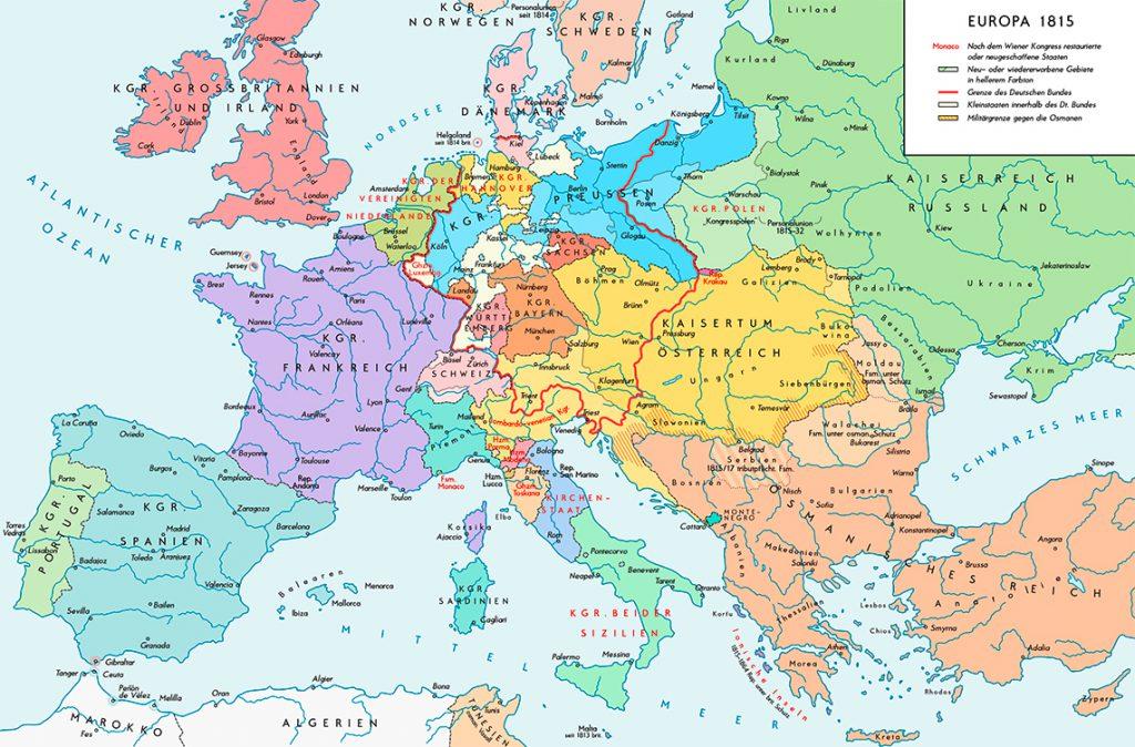 Die Neuordnung des Kontinents durch den Wiener Kongress: Die politische Lage im Juni 1815