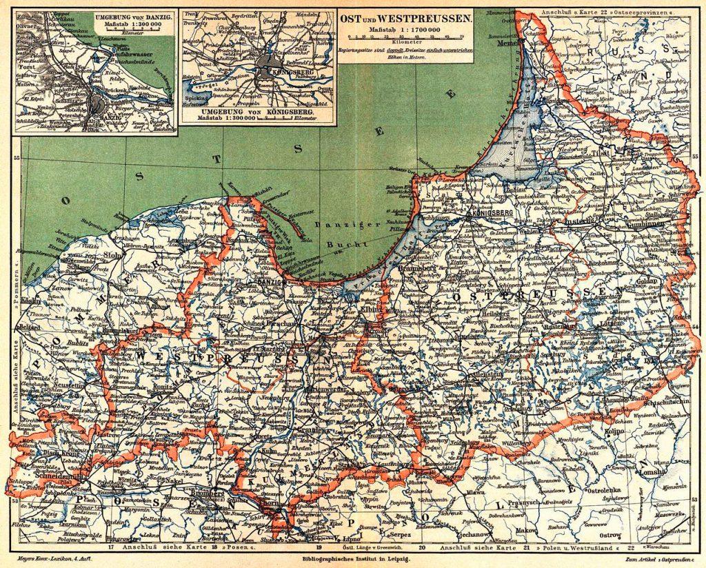 Die Aufteilung der früheren Provinz Preußen in zwei wieder eigenständige Provinzen Ost- und Westpreußen.