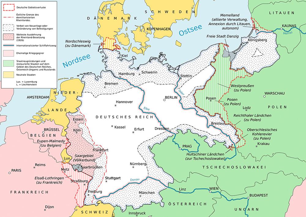 Die im Vertrag von Versailles festgelegten territorialen Veränderungen