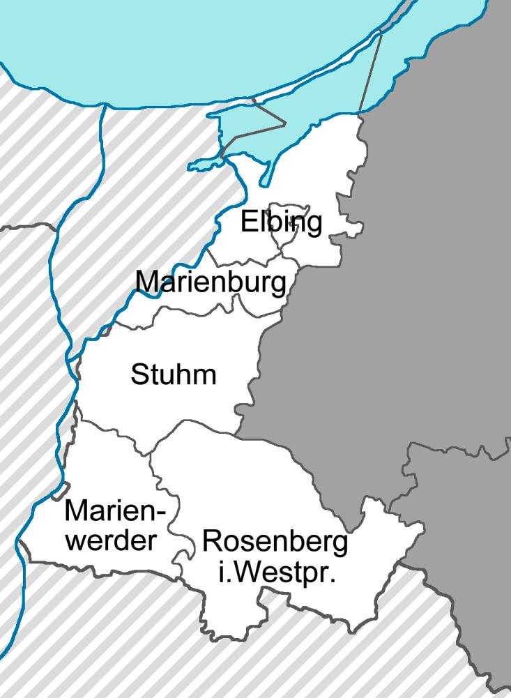 Skizze des Regierungsbezirks Westpreußen in Ostpreußen