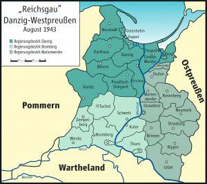"""Die Verbindung von im Zweiten Weltkrieg eroberten Kreisen des """"Korridors"""" mit den Gebieten des Regierungsbezirks Westpreußen und der Freien Stadt Danzig"""