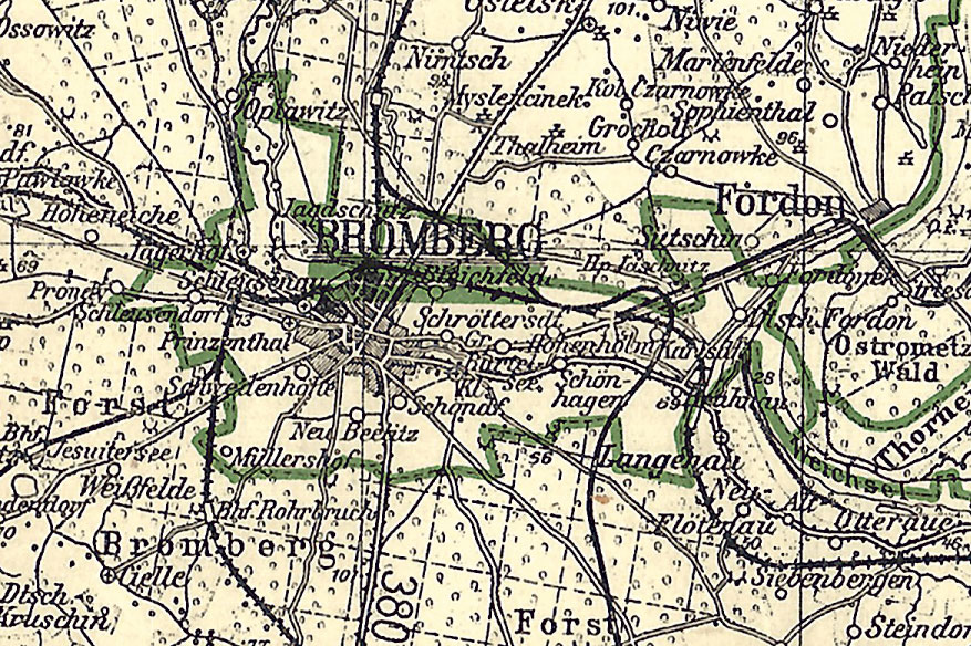"""Eine detaillierte Übersicht über die 1939 im """"Reichsgau"""" nochmals eingerichteten Kreise Bromberg-Stadt und -Land gibt der entsprechende Ausschnitt aus einer historischen Karte aus dem Jahre 1942"""