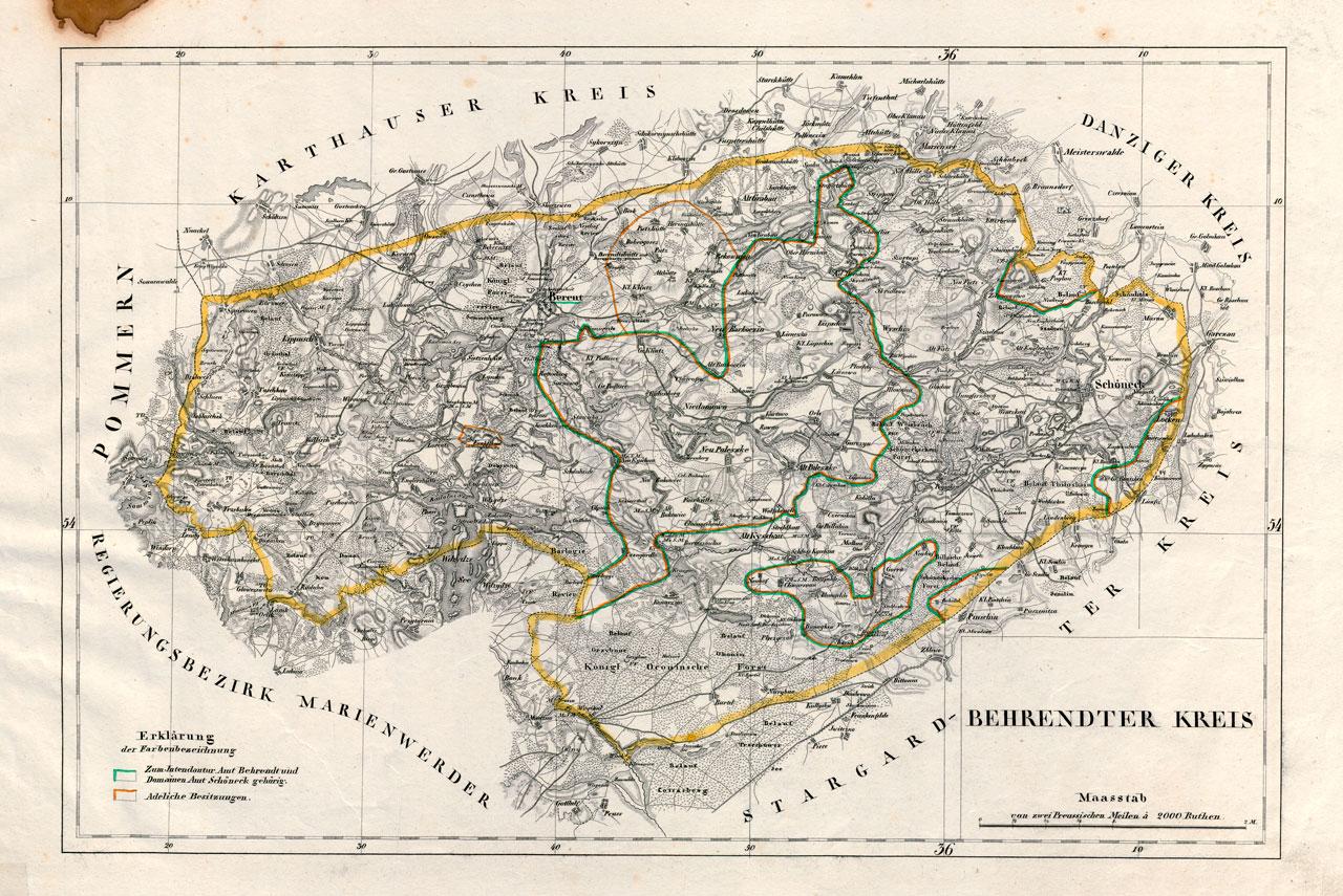 Karte des Behrendter Kreises (Mitte des 19. Jahrhunderts)