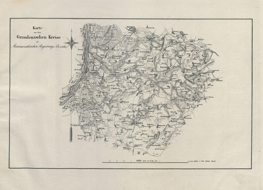 Karte des Graudenzschen Kreises (2. Viertel des 19. Jahrhunderts)