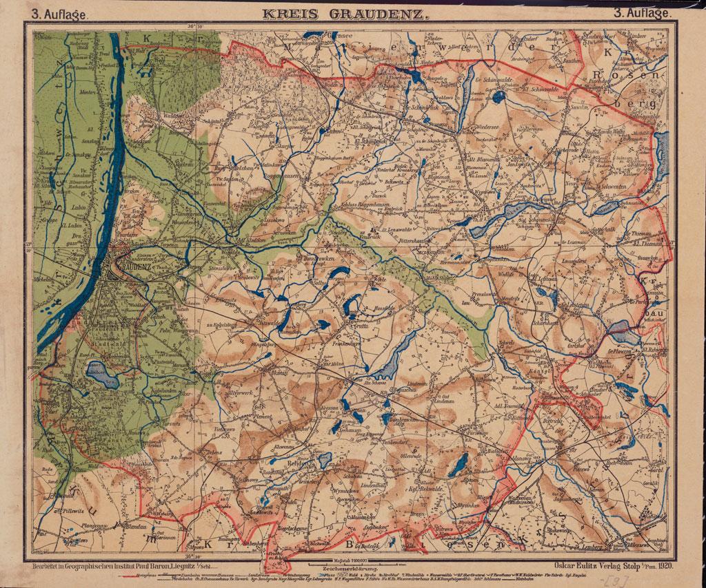 Karte des Kreises [Stadt- und Landkreises] Graudenz, 1920
