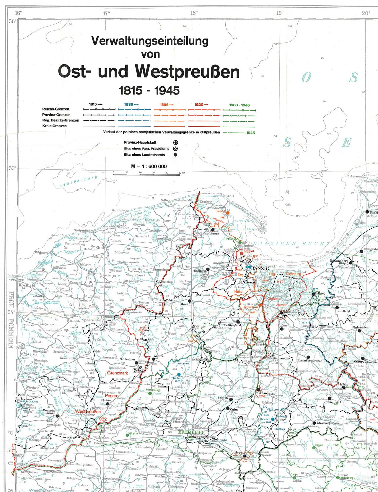 Verwaltungseinteilung von Ost- und Westpreußen. 1815–1945