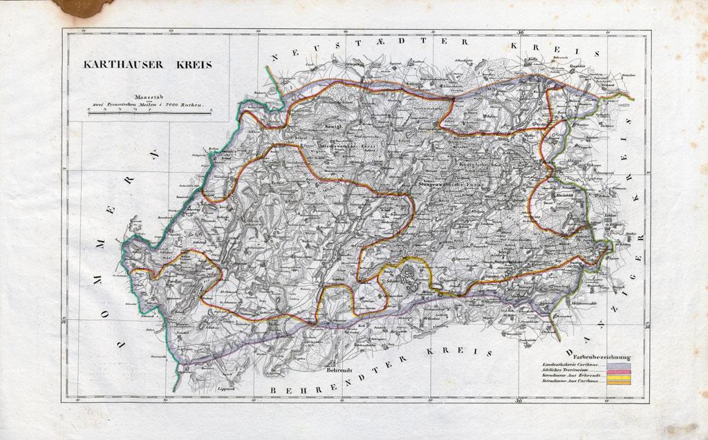Karte des Karthauser Kreises (2. Hälfte des 19. Jahrhunderts)