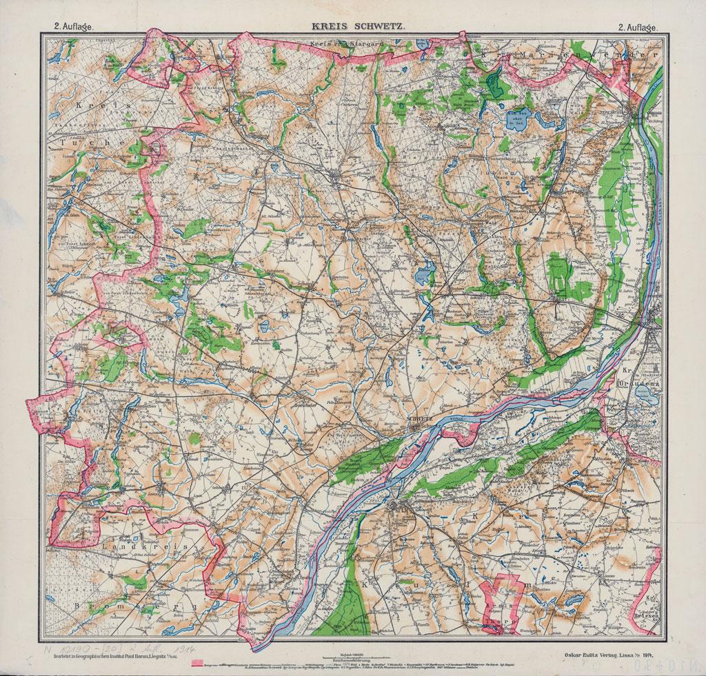 Karte des Kreises Schwetz, 1914
